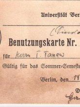 Студентска карта, Третия райх, Тачо Танев
